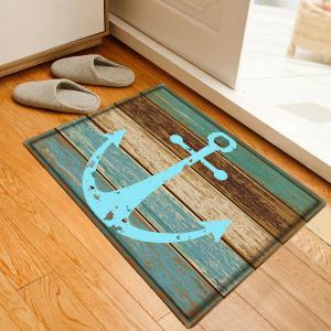 Deck Anchor Pattern Flannel Bathroom Floor Mat