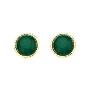 Artificial Emerald Circle Tiny Stud Earrings