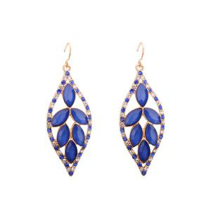 Rhinestone Faux Crystal Leaf Hook Earrings - Blue