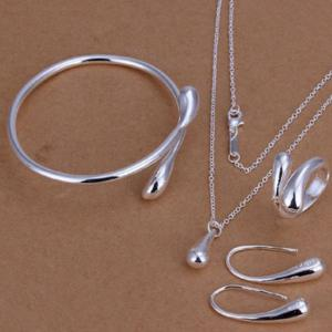 Teardrop Necklace Bracelet Earrings with Ring - Silver
