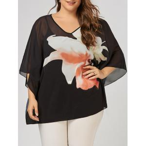 Plus Size Floral Pattern V Neck Batwing Sleeve  Tunic Top