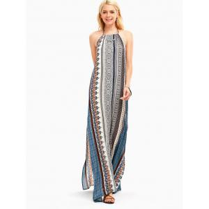 Bohemia High Slit Halter Backless Maxi Dress - Multicolore S