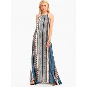 High Slit Halter Backless Maxi Boho Dress -