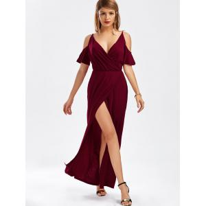 Cold Shoulder Thigh High Slit Maxi Dress - WINE RED XL