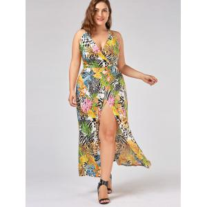Halter Neck High Slit Plus Size Hawaiian Dress -
