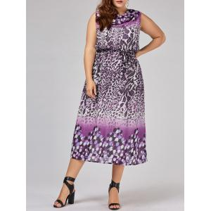 Plus Size Cowl Neck Leopard Dress - Purple - 4xl