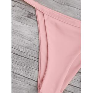 Spaghetti Straps String High Cut Two Piece Swimsuit - PINK S