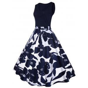 High Waisted Printed Vintage Dress - CERULEAN XL