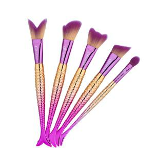 Mermaid Tail Makeup Brushes Set With Floral Brush Bag -