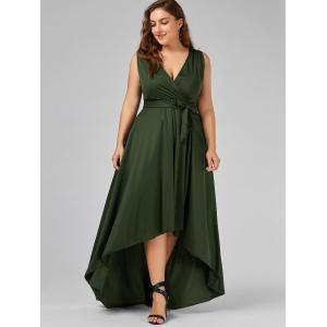 Plus Size Surplice Long High Low Formal Dress - ARMY GREEN 3XL