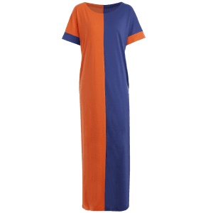Two Tone Middle East Casual Maxi Dress -