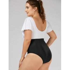 Two Tone Backless Plus Size Swimsuit -