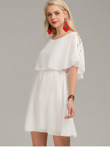 Sale Ruffle Overlay Chiffon Cold Shoulder Dress - S WHITE Mobile