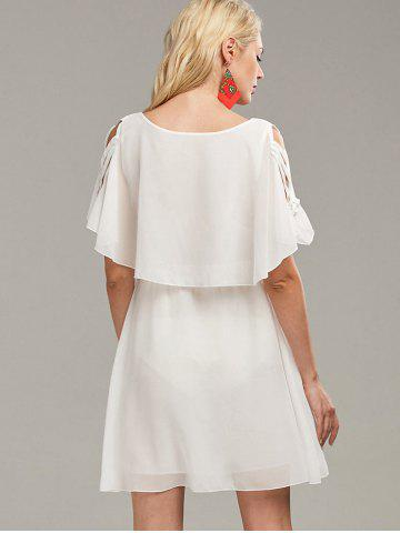 Online Ruffle Overlay Chiffon Cold Shoulder Dress - S WHITE Mobile