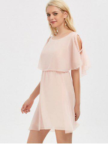 Best Ruffle Overlay Chiffon Cold Shoulder Dress - 2XL SHALLOW PINK Mobile