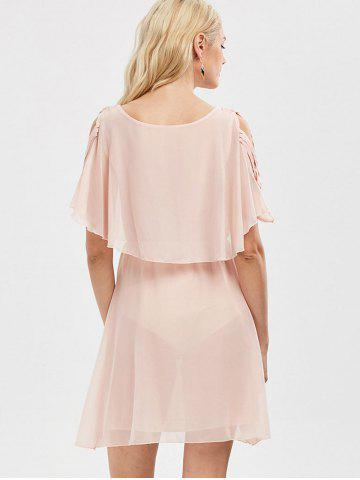 Chic Ruffle Overlay Chiffon Cold Shoulder Dress - 2XL SHALLOW PINK Mobile