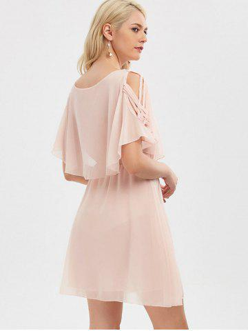 Cheap Ruffle Overlay Chiffon Cold Shoulder Dress - 2XL SHALLOW PINK Mobile