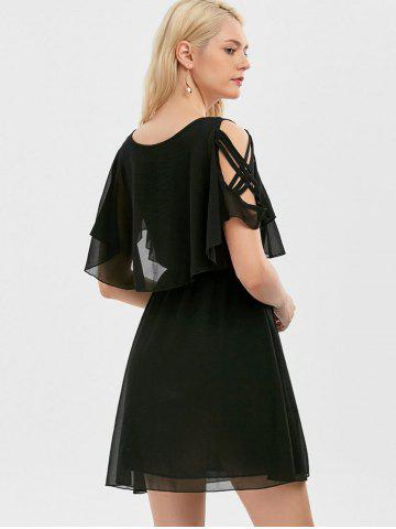 Fashion Ruffle Overlay Chiffon Cold Shoulder Dress - XL BLACK Mobile