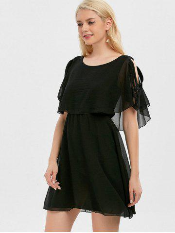 Hot Ruffle Overlay Chiffon Cold Shoulder Dress - XL BLACK Mobile