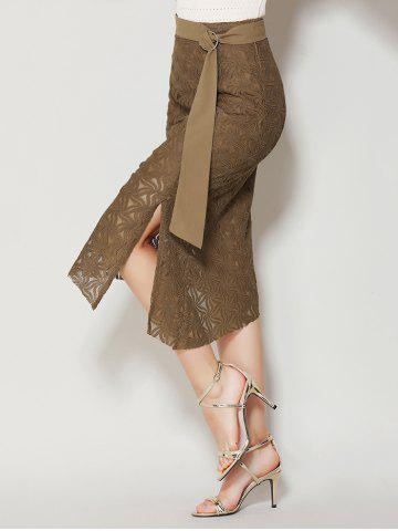 Shop Asymmetrical Slit Lace Skirt with Long Tail - XL BROWN Mobile