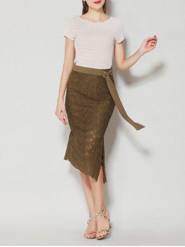 Latest Asymmetrical Slit Lace Skirt with Long Tail - L BROWN Mobile