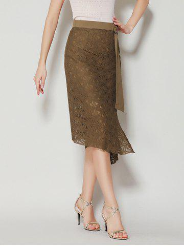 Shop Asymmetrical Slit Lace Skirt with Long Tail - L BROWN Mobile