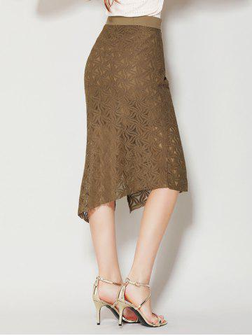 Online Asymmetrical Slit Lace Skirt with Long Tail - L BROWN Mobile