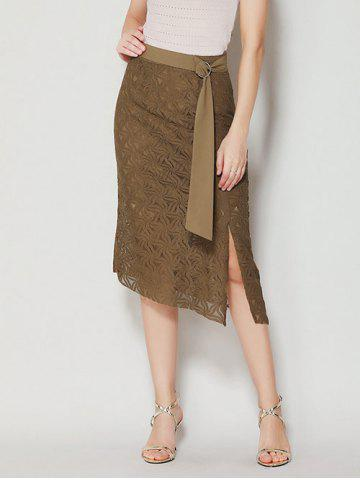 Asymmetrical Slit Lace Skirt with Long Tail - Brown - S