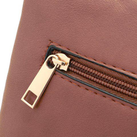Outfits Hollow Out PU Leather Crosbody Bag - BROWN  Mobile