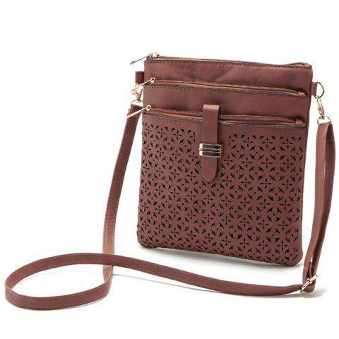 Store Hollow Out PU Leather Crosbody Bag - BROWN  Mobile