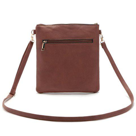 Buy Hollow Out PU Leather Crosbody Bag - BROWN  Mobile