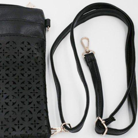 Best Hollow Out PU Leather Crosbody Bag - BLACK  Mobile