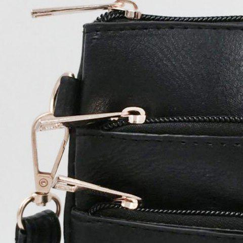 Hot Hollow Out PU Leather Crosbody Bag - BLACK  Mobile