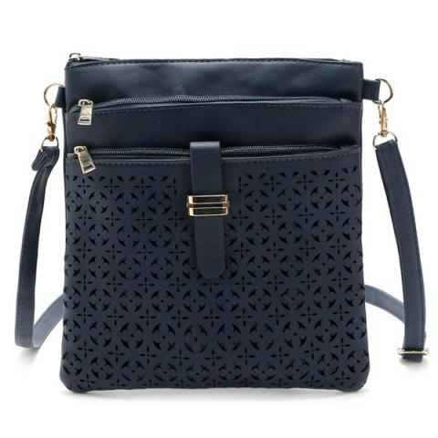 Buy Hollow Out PU Leather Crosbody Bag - DEEP BLUE  Mobile