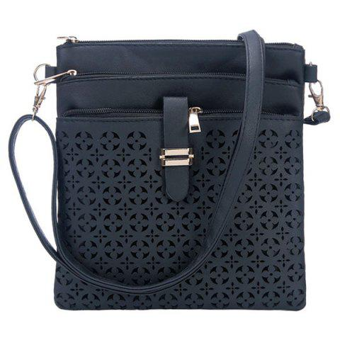 Hot Hollow Out PU Leather Crosbody Bag - DEEP BLUE  Mobile