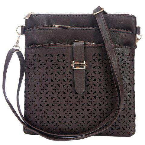 Best Hollow Out PU Leather Crosbody Bag - COFFEE  Mobile