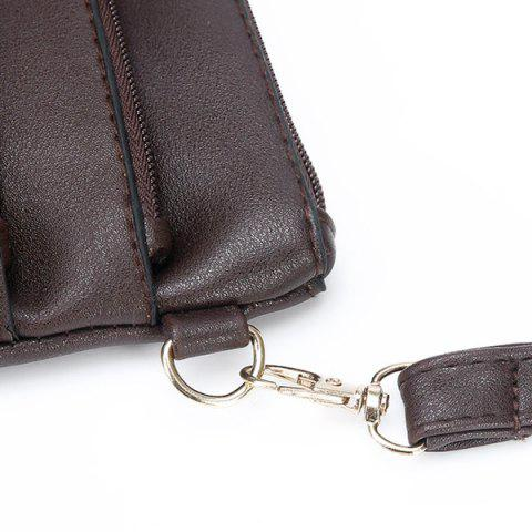 Store Hollow Out PU Leather Crosbody Bag - COFFEE  Mobile