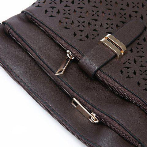Outfits Hollow Out PU Leather Crosbody Bag - COFFEE  Mobile