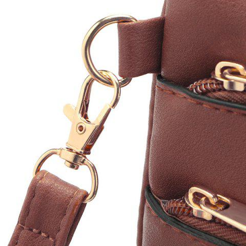 Outfits Hollow Out PU Leather Crosbody Bag - BEIGE  Mobile