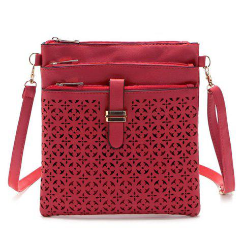 Shops Hollow Out PU Leather Crosbody Bag - RED  Mobile