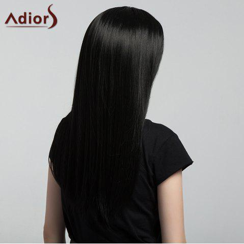 Unique Adiors Middle Part Silky Long Straight Synthetic Wig - BLACK  Mobile