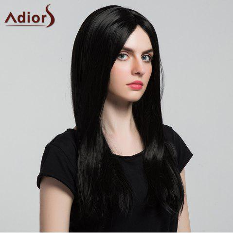 Trendy Adiors Middle Part Silky Long Straight Synthetic Wig - BLACK  Mobile