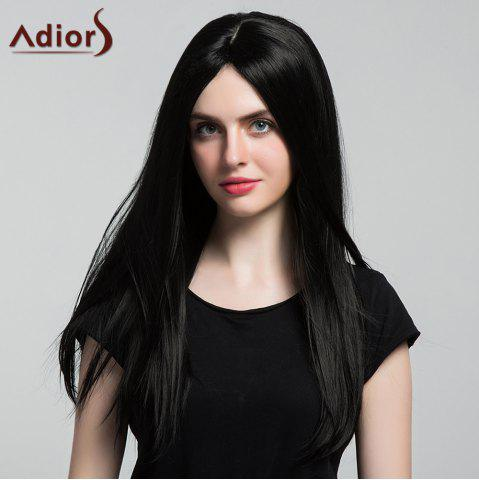 Online Adiors Middle Part Silky Long Straight Synthetic Wig - BLACK  Mobile