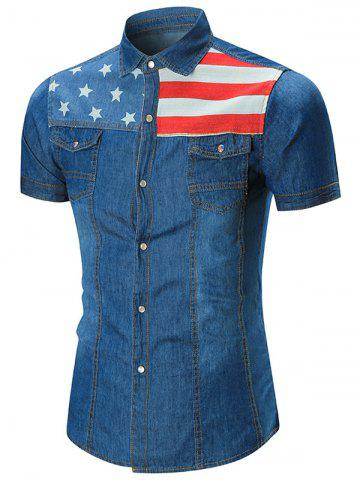 Stripe and Star Print Pocket Denim Shirt