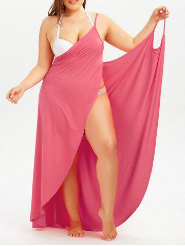 Fancy Plus Size Cover Up Beach Wrap Dress - WATERMELON RED 3XL Mobile