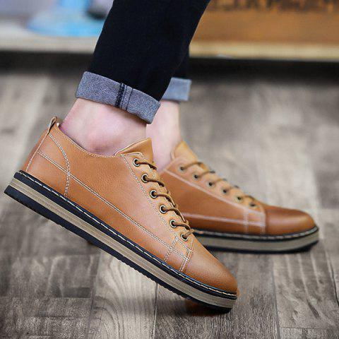 Stitching Faux Leather Tie Up Casual Shoes - Light Brown - 40