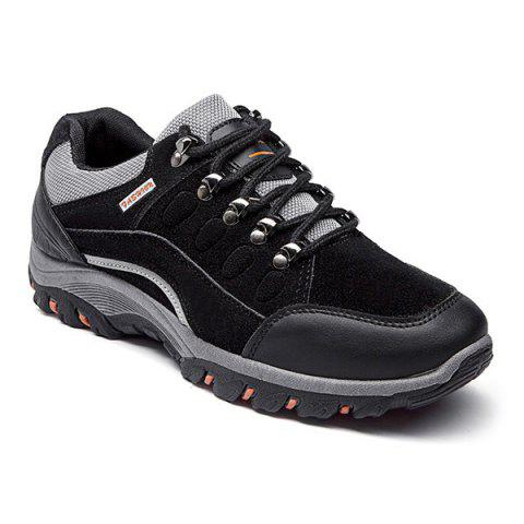Faux Suede Colour Block Athletic Shoes - Black - 44