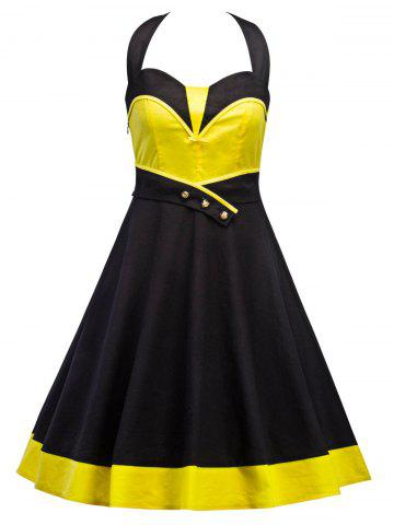 Vintage Contrast Panel Halter Dress - Yellow And Black - 2xl