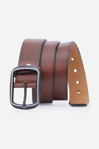 Faux Leather Rectangular Pin Buckle Belt - Brown - 38