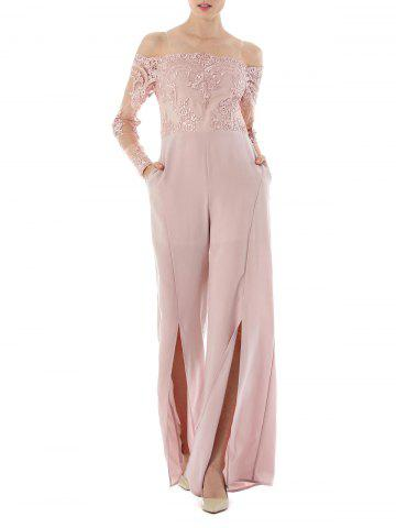 2018 High Waist Formal Wide Leg Jumpsuit In Light Pink S